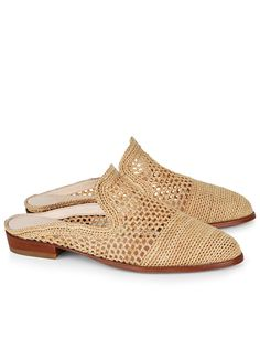 ROBERT CLERGERIE Antes Woven-Raffia Slip-On Loafers in Colour: Cream