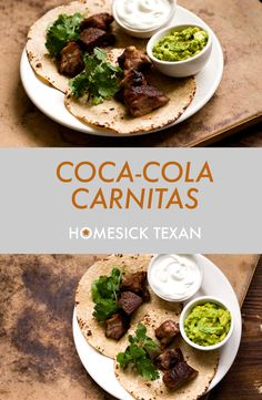 Coca-Cola and milk along with cinnamon, allspice, and chipotle give these carnitas a slight hint of bacon, which is never a bad thing at all. Pork Carnitas Recipe, Pork Tacos, Braised Pork Belly, Braised Beef, Mexican Dishes, Mexican Food Recipes, Spanish Recipes, Bottom Round Roast Recipes, Pork Recipes