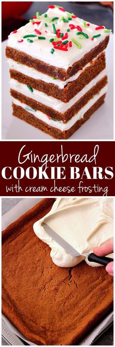 Gingerbread Cookie Bars - chewy and perfectly spiced cookie bars with sweet vanilla frosting and festive sprinkles are easy and delicious!