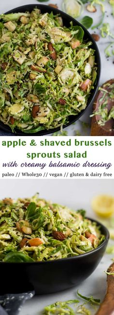 Step up your brussels sprouts game with this salad! A quick and easy recipe, this Apple & Shaved Brussels Sprouts Salad makes a delicious side dish packed with veggies, fruit, and nuts with a creamy balsamic dressing. It comes together in less than 10 minutes and is vegan, paleo, and Whole30 approved! - Eat the Gains #whole30 #vegan #paleo #brusselssprouts