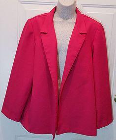 Womens Donnkenny Bright Pink Suit Jacket Sz 16 Polyester Blazer Coat WB9…