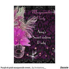 Purple & pink masquerade sweet 16 Birthday party