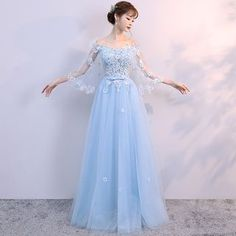 Lace Luxury Royal Wedding Dress Light Blue party Dress with Tulle Sleeves Chic Tulle Bride Dress for Wedding Party We offers a wide selection of trendy style women's clothing. Affordable prices on new tops, dresses, outerwear and more. Beach Bridal Dresses, Long Bridesmaid Dresses, Prom Dresses, Formal Dresses, Off Shoulder Evening Gown, Beaded Wedding Gowns, Wedding Dress, Looks Teen, Blue Party Dress