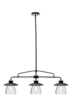 Amazon.com: Globe Electric 3-Light Vintage Pendant, Oil Rubbed Bronze Finish, Clear Glass Shades, 64845: Home Improvement