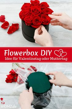 Flowerbox selber machen, perfektes DIY Geschenk - WOMZ Are you looking for a gift idea for Valentine's Day or Mother's Day? Why not just make a gift yourself? How about a beautiful flower box? Wedding Gifts For Newlyweds, Newlywed Gifts, Flower Boxes, Diy Flowers, Craft Gifts, Diy Gifts, Tutorial Diy, Wine Bottle Crafts, Make A Gift
