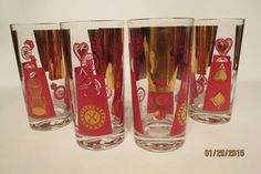 "4 Clear Glass Vintage Red Gold Casino Themed Tumblers ~ 5 1/2"" ~ Mid Century"