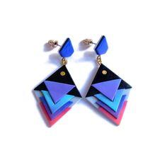 Geometric Triangle Earrings Pink Blue Purple and Black Modern Earrings Jewelry