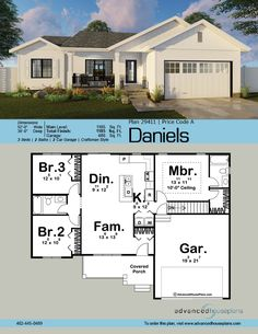 Aclassic craftsman exterior facade, the Daniels is a handsome 1 story house plan with a great floor plan to match! The covered porch is an inviting approach t