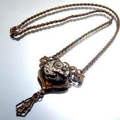 Steampunk Vintage Floral Motif Necklace Aged by DesignerKayStyle, $28.79