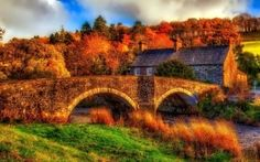 HDR Old Bridge and House HD Wallpaper