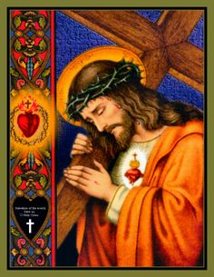 Salvation of the world, save us, O Holy Cross. {Christ carrying the Cross} Heart Of Jesus, Jesus Is Lord, Religious Images, Religious Art, Rosary Novena, Image Jesus, Jesus E Maria, Religion Catolica, Saint Esprit