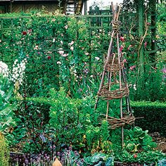For a quick, inexpensive support for climbing plants, build a simple tipi of natural materials you may already have.    Because they are easily moved, tipis lend themselves to vegetables such as runner beans, which may not occupy the same spot next year. Not only does the structure put the veggies at a convenient height for harvesting, it creates a focal point on its own.