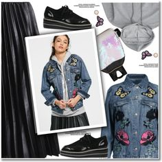 Butterfly & floral denim jacket by paculi on Polyvore featuring Cuero