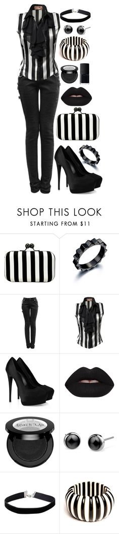 """Corp Goth"" by psycho-doodle-bug ❤ liked on Polyvore featuring La Regale, JJ Park, Giuseppe Zanotti, Lime Crime, Miss Selfridge, NARS Cosmetics, black, stripes, goth and alternative"
