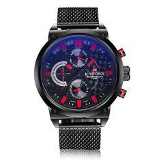 Large Dark Steel Mesh Band Wristwatch