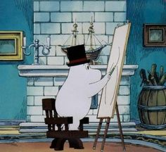 Moomin art! (Once again, I love the fireplace!) Oh My Word I had these books and even a Moomin doll! great fun