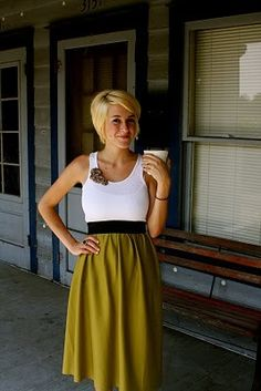 DIY dress...old tank   elastic   fabric of your choice. I think I will try this with pink