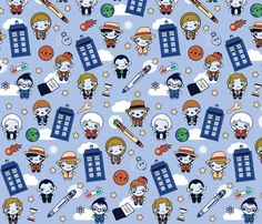 Eleven Traveling Doctors and Blue Phone Boxes fabric by greencouchstudio on Spoonflower - custom fabric ($18/yard)
