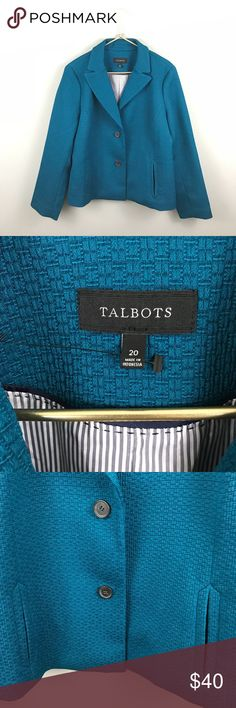 NWOT Talbots Teal Jacket Blazer Coat New With tags, excellent condition. Measured laying flat- bust 24.5 length 25.5 Talbots Jackets & Coats
