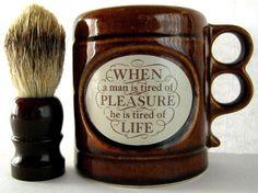 ARAMIS Mug Shaving Beard Skincare Badger Hair Brush 1970s COFFEE TEA CUP MUG