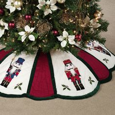 Quilted Nutcracker Christmas Tree Skirt