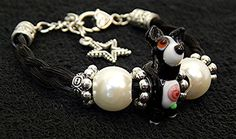 Horse Hair Bracelet with Quality Murano Glass BLACK DOG Made in USA by KATHY #KATHYSTAILS
