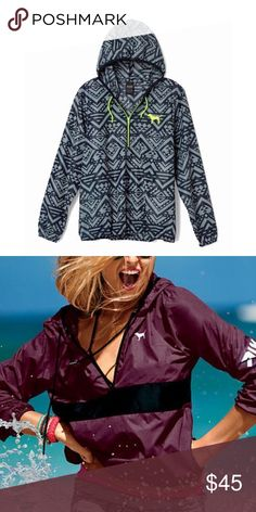 VS Pink Aztec Anorak Pullover LIKE NEW! Worn once, absolutely no flaws. Sold out, popular style - grey Aztec with neon green detail. Size XS/S. Second photo is for fit & style reference. NO TRADES. Price is firm. 🌟 PINK Victoria's Secret Jackets & Coats