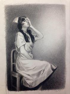 Nurse (2013) black pencil on paper | 24 x 18 inches. by Mercedes Helnwein