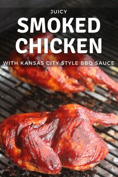 This smoked chicken recipe is the opposite of complicated. Juicy, melt in your mouth chicken layered with flavors from the best Sweet BBQ Chicken Rub, light apple wood smoke, and a sweet/tangy Kansas City BBQ Sauce. Smoked Chicken Recipes, Grilled Steak Recipes, Pork Recipes, Grilled Meat, Traeger Recipes, Sausage Recipes, Recipies, Healthy Grilling Recipes, Barbecue Recipes