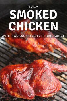 Juicy Smoked Chicken with Kansas City Style BBQ Sauce