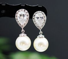 Wedding Jewelry Wedding Earrings Bridal Earrings Bridesmaid Earrings cubic zirconia ear posts with Cream Swarovski Pearl Earrings. $26.80, via Etsy.