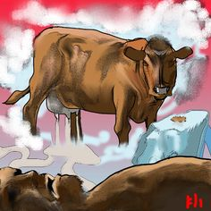 Auðumbla- Norse myth: a primordial cow that had four streams of milk coming from its udder that nourished ymir. it also licked some ice block, from which sprung a man named Búri. Norse Pagan, Norse Mythology, American Gods, Native American, Norse Religion, Fantasy Literature, Creation Myth, Asatru, World Religions