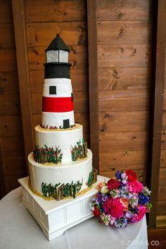Colorful Nantucket Wedding at the Sankaty Head Golf Club Beautiful Wedding Cakes, Beautiful Cakes, Amazing Cakes, Lighthouse Cake, Nantucket Wedding, Sugar Craft, Cake Images, Little Cakes, Nautical Wedding