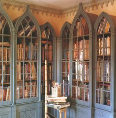 Gothic+Bookcase+World+of+Interiors+James+Mortimer+FindNY+George+Case. World Of Interiors, Dream Library, Library Books, Future Library, Library Wall, Book Storage, Yarn Storage, Storage Baskets, Home Libraries