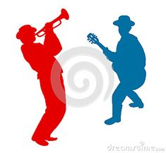 Musicians plays the jazz,  red and blue silhouette on white background. Musicians, guitarists, trumpeters, guitar, wind instruments. Black and white Digital illustration and Hand drawing. Clip Art for Art, web, print, wallpaper, greeting card, textile, fashion, fabric, texture, Home decor and more graphic design.