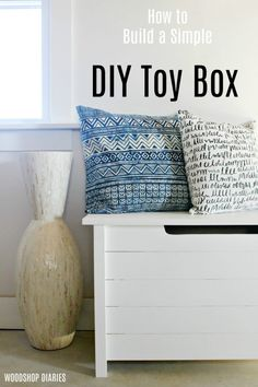 How to Build a Simple DIY Toy Box with Faux Slats--Great Storage Trunk or Blanket Chest