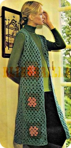 Long Sleeveless Granny Square Tailored Vest Vintage by BlingBrilla, $3.50