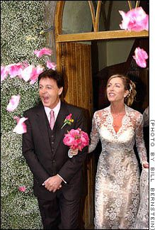 June 11, 2002: The former Beatle wed second wife, Heather Mills, at 17th Century Castle Leslie in Glaslough, Ireland. 300 guests (Ringo Starr, Twiggy, and Steve Buscemi among them) witnessed the wedding at 17th Century St. Salvator's Church on the castle grounds (bells pealed for 20 minutes to celebrate the first kiss), and partook in a vegetarian reception with 4-tier chocolate wedding cake, entertainment, and Indian-themed entertainment. Caroline Eavis and Annie Brown designed Mills'…