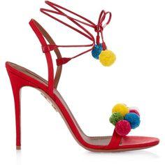 Aquazzura Raffia Pon Pon sandals ($472) ❤ liked on Polyvore featuring shoes, sandals, braided sandals, rainbow shoes, pom pom shoes, rainbow sandals and woven shoes