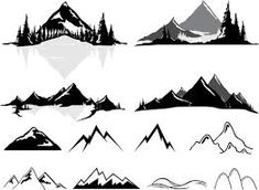 mountain outline graphic - Google Search Silhouette Sign, Mountain Silhouette, Silhouette Painting, Mountain Outline, Mountain Drawing, Modern Graphic Design, Graphic Design Inspiration, Goat Logo, Mountain Paintings