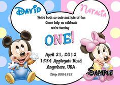 Nice Mickey and Minnie Twin Birthday Invitations