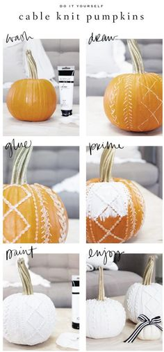 Black and White Cable Knit and Calligraphy Pumpkins : Saffron Avenue This year I decided to stick to black and white calligraphy pumpkins but also try something new and create cable knit pumpkins as well! Fall Home Decor, Autumn Home, Autumn Fall, Thanksgiving Decorations, Halloween Decorations, Fall Decorations, Seasonal Decor, Holiday Crafts, Holiday Fun