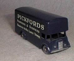 Pickford Removal Van No 46 - Matchbox (1960?) (Matchbox Series) (made in England by Lesney) (Moko) (Pickfords Removers  Storers) (3 lines ads on sides) (blue color) (grey tires) (back door missing)