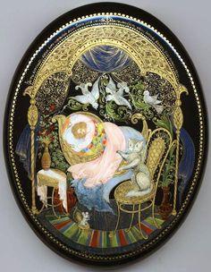 Palekh Box  Title: Lullaby.  Artist: Gurileva M.  Size (cm): 2x11x13  Size (inches): 1x4.5x5.5  Price: 495