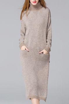 Solid Color Side Slit Pockets Sweater Dress