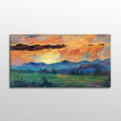 Original Oil Painting Spring Moutain Fields with Flowers Large Canvas Art, Abstract Canvas Art, Oil Painting Abstract, Oil Painting Texture, Painting Edges, Canvas Wall Decor, Modern Art, Original Paintings, Palette Knife