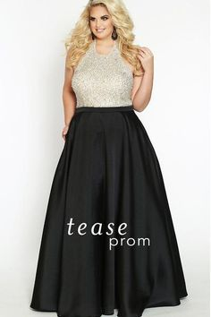 184eb2b18db Shine at Prom 2019 or any formal in a trendy plus size gown. Flattering  black satin A-line long skirt.