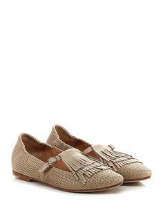 Masami - Scarpa bassa - Donna - Scarpa bassa in pelle effetto intrecciato e pelle con cinturino alla caviglia e frange frontali. Suola in cuoio e gomma. - BEIGE - € 179.00
