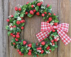 Strawberry Wreath Spring Wreath Summer Wreath by HeartOfHomeDesign Easter Wreaths, Fall Wreaths, Christmas Wreaths, Country Wreaths, Wreaths For Front Door, Door Wreaths, Front Doors, Red Berry Wreath, Strawberry Decorations