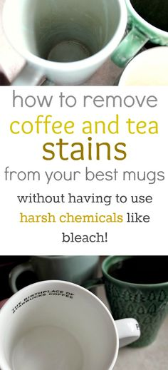 How to easily and naturally remove those pesky coffee and tea stains from your mugs! No need for bleach or any other harsh chemicals!